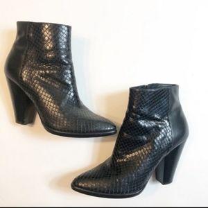 Cole Haan Vestry Short Boots faux snakeskin